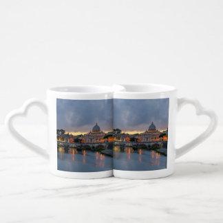 Sant'Angelo bridge Saint Peter Basilica Rome Italy Coffee Mug Set