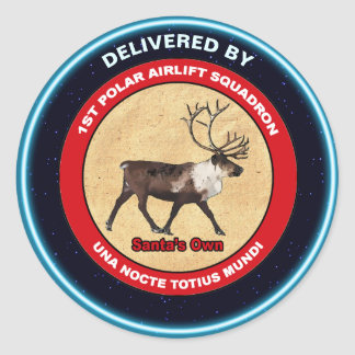 Santa's 1st Polar Airlift Sqdn - Subdued Classic Round Sticker