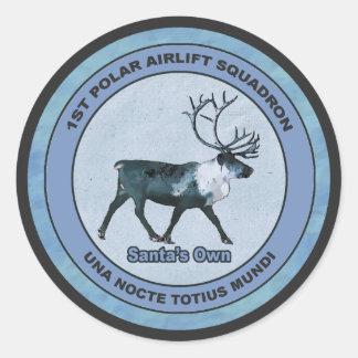 Santa's 1st Polar Airlift Sqdn - Subdued Classic Round Sticker