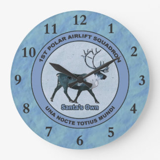 Santa's 1st Polar Airlift Sqdn - Subdued Large Clock