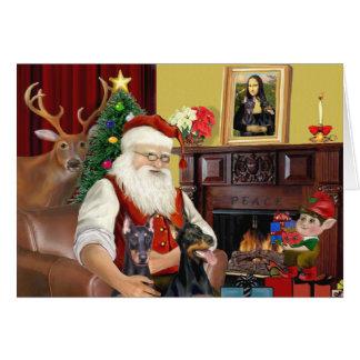 Santa's 2 Doberman Pinschers Card