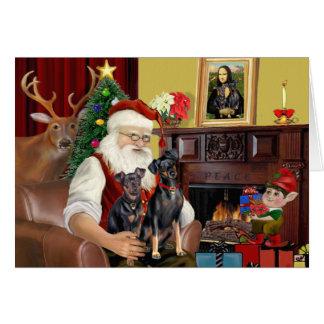 Santa's 2 Minaiture Pinschers Card