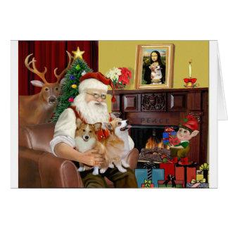 Santa's 2 Welsh Corgis (Pem.) Card