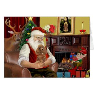 Santa's Apricot Toy /Min. Poodle Card