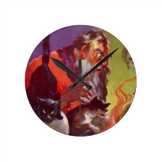Santa's Bad Cats Round Clock
