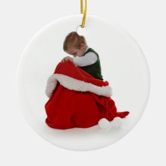 Santa's Bag Ceramic Ornament