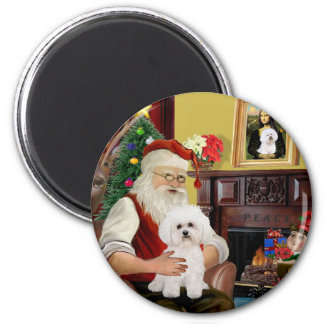 Santa's Bichon Frise #2 2 Inch Round Magnet