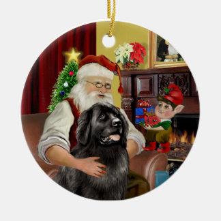 Santa's Black Newfoundland #2 Ceramic Ornament