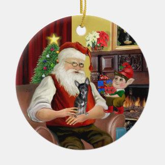 Santa's Blue and Cream Chihuahua Ceramic Ornament