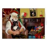 Santa's Brindle French Bulldog Greeting Card