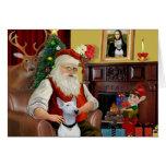 Santa's Bull Terrier (white) Cards