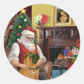 Santa's Chinese Shar Pei Classic Round Sticker