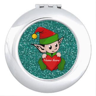 Santa's Christmas Elf On Faux Green Glitter Vanity Mirrors