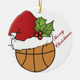 Santa's Christmas Hat on a Basketball Round Ceramic Ornament