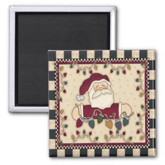 Santas Christmas Light Bulbs Square Magnet
