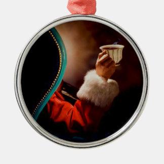 Santa's Coffee Break Vintage Metal Ornament