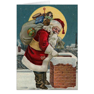 """Santa's Coming down the Chimney"" Card"