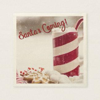 Santa's Coming Holiday Christmas Paper Napkins