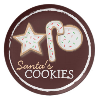 Santa's Cookies Sugar Cookie Trio Plate in Cocoa