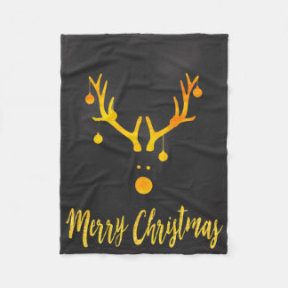 Santa's cute reindeer faux gold on gray fleece blanket
