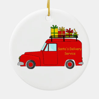 Santa's Delivery Service Ceramic Ornament