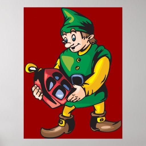 Santas Elf and Lantern Print