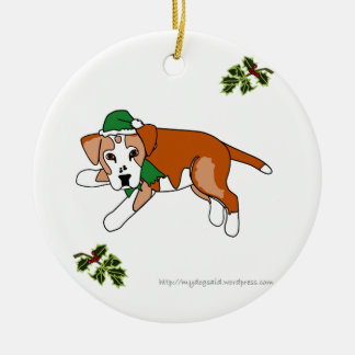 Santa's Elf cartoon dog ornament