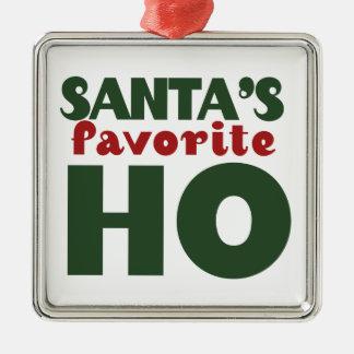 Santas Favorite HO Silver-Colored Square Ornament