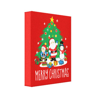 Santa's friends canvas print
