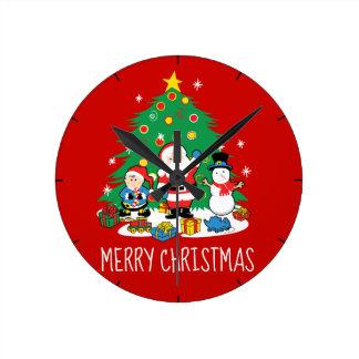 Santa's friends round clock