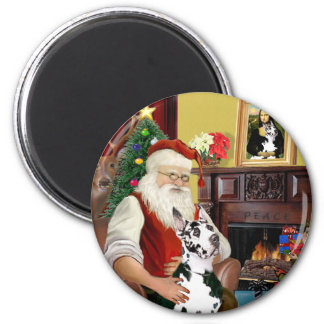Santa's Harlequin Great Dane Magnet