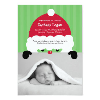 Santa's Hat Photo Birth Announcement