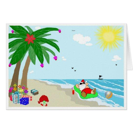 Santa's Hawaiian Christmas Greeting Card
