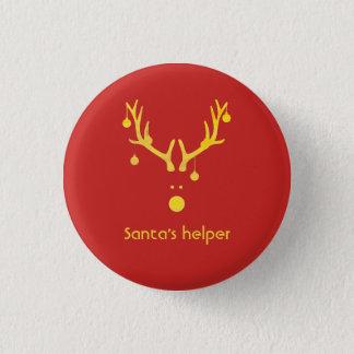 Santa's helper modern reindeer head on red 1 inch round button