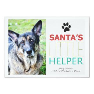 "Santa's Helper- Pet Photo Holiday Flat Cards 5"" X 7"" Invitation Card"