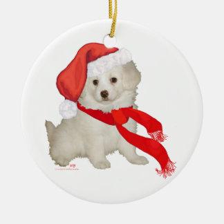 Santa's Helper Puppy Poodle / Bichon Mix Round Ceramic Ornament
