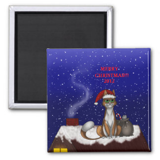 SANTA'S HELPER SQUARE MAGNET