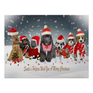 Santa's Helpers Merry Christmas Poster