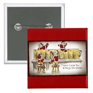Santa's Helpers on a Switchboard 2 Inch Square Button