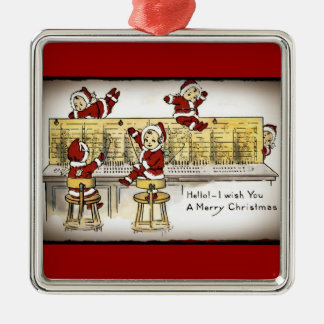 Santa's Helpers on a Switchboard Metal Ornament