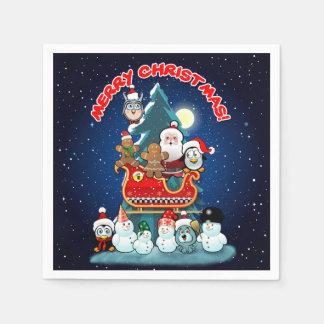 Santa's Holiday Party By The Christmas Tree Paper Napkin
