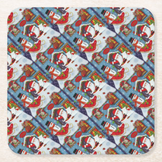 Santa's House Square Paper Coaster