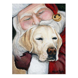 Santa's Hug for Lab art postcard