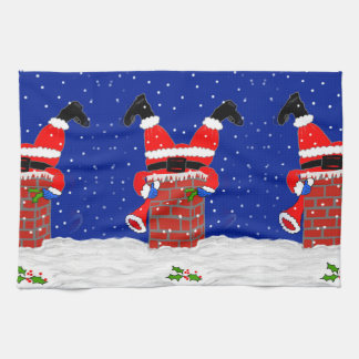 Santas in the Chimney Kitchen Towel