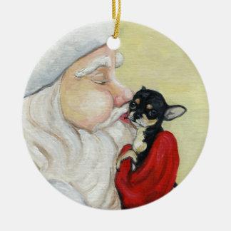 Santa's Kiss for Chihuahua Art Ornament