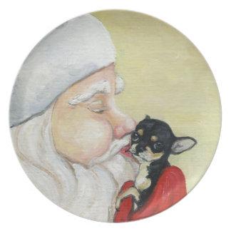 Santa's Kiss for Chihuahua Dog Art Plate
