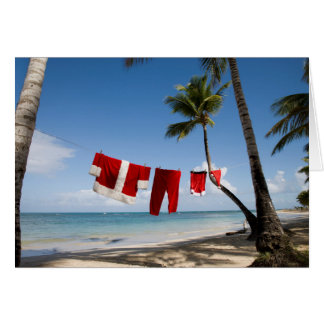 Santa's Laundry On Beach Card
