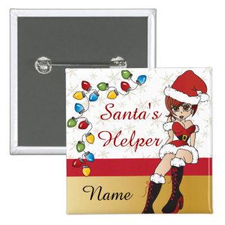 Santa's Little Helper 2 Inch Square Button