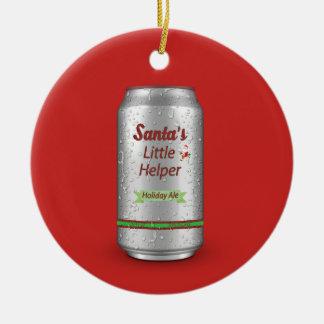 Santa's Little Helper Beer Can Ceramic Ornament