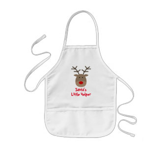 Santa's little helper cute Christmas reindeer kids Kids Apron